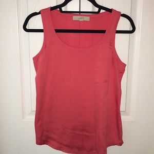 Coral silky cotton back sleeveless top